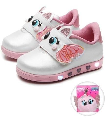 Kit 1 Tênis Infantil Feminino Led Pampili 165.079 +1 Chinelo