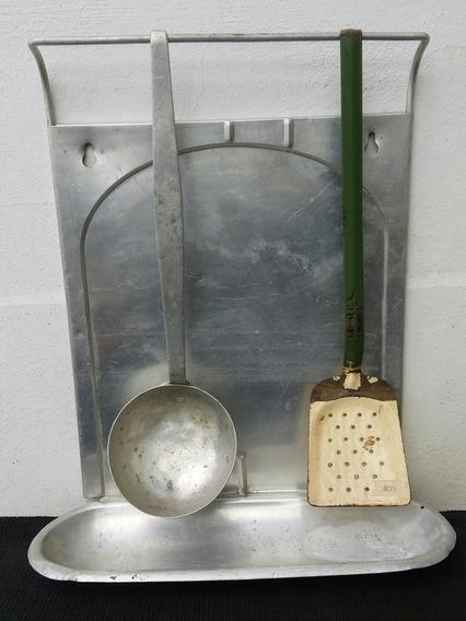 Antiguo Colgador De Utensilios De Cocina, Años 50, Aluminio