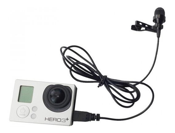 Microfone Lapela Mini Telesin Para Câmeras Gopro Hero 3 3+ 4