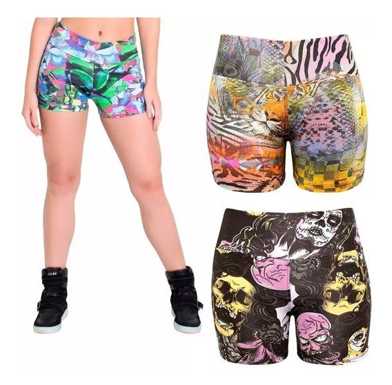 Kit 5 Shorts Suplex Feminino Cintura Alta Fitness