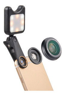Flash Led Para Celular Selfie + 2 Lentes Macro Gran Angular