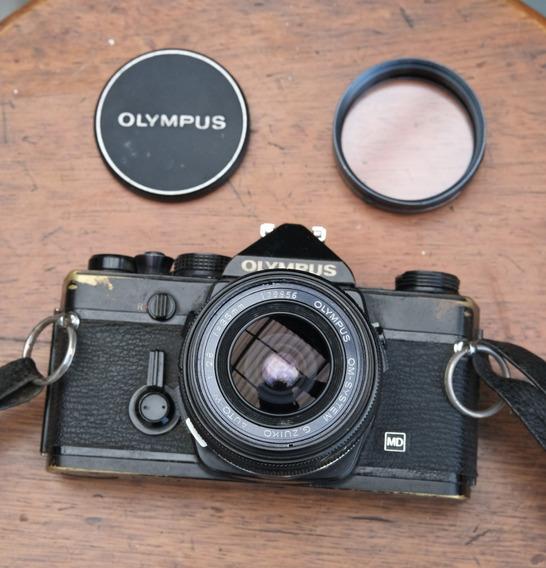 Câmera Olympus Om-1 Preta Com Lente Zuiko 35mm 2.8
