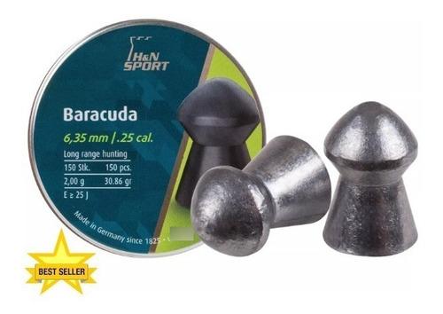 Imagen 1 de 1 de Diabolos H&n Baracuda Cal .25(6.35) 30.86gr Round Nose 150pz