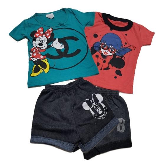 Roupa Infantil Menina Kit Com 3 Conjunto Infantil Feminino