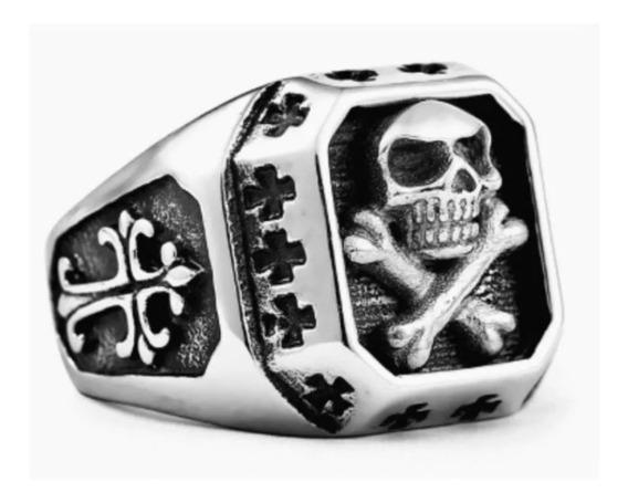 Anel Caveira Pirata - Aço Inox - Resistente - Crânio E Ossos
