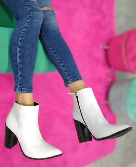 Blanco Zapato Botineta Mujer Cuero