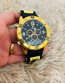 Relógio Masculino Dourado Luxo Potenzia Barato Atacado+caixa