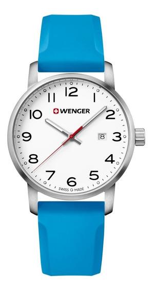 Relógio De Pulso Suíço Wenger Unissex Linha Avenue 42mm Azul