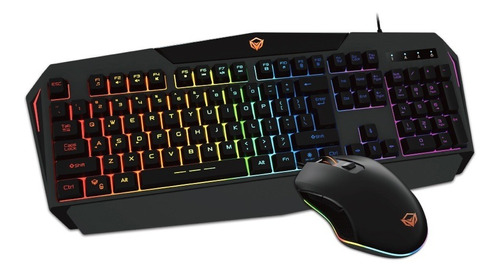 Combo Teclado Mouse Gamer Meetion Mt-c510 Luces Rgb Pc Ps4