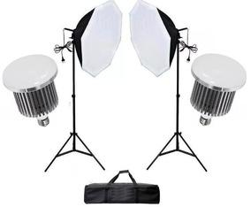 Kit Iluminação 105w Lâmpada Led Octogonal 70cm+ 2 X Tripe 2m