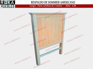Respaldo De Sommier Americano 1 Y 1/2 Plaza Pino Roka