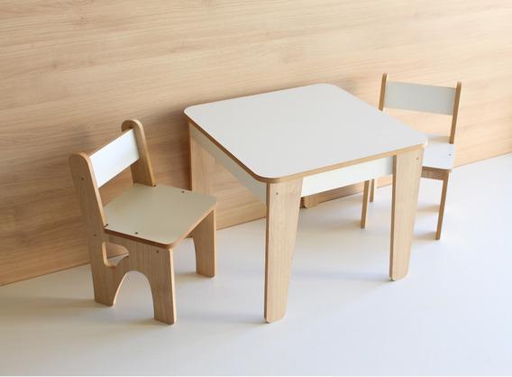 Mesa Infantil Madeira Mdf Frete Gratis ( 2 Cadeiras )
