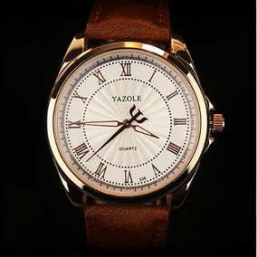 Relógio Masculino Luxo Yazole Pulso Social Pulseira Couro