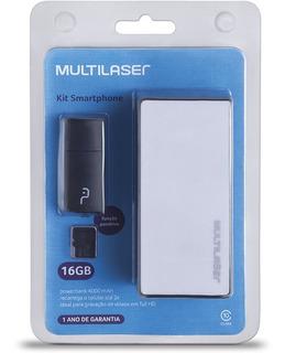 Kit Power Bank Bateria 4000mah Leitor Cartão Micro Sd 16gb