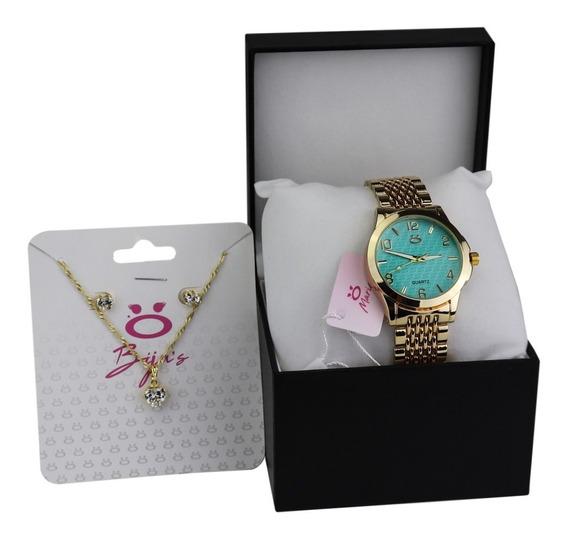 Relógio Feminino Dourado + Kit (colar E Brincos)