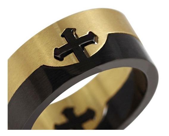 Anel Aliança Cruz Templário Gótico Religioso Banhado A Ouro