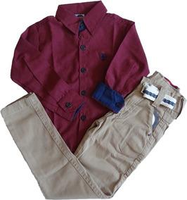 Camisa Social + Calça Jeans Infantil Masculina Menino