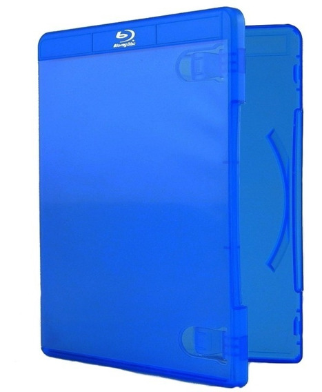 Box Para Bluray Capa Azul Rimo Com Logo Cromado Resistente Para 10 Mídias