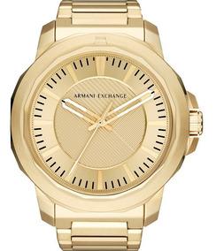 Relógio Armani Exchange Masculino Dourado Barato Ax1901/1dn