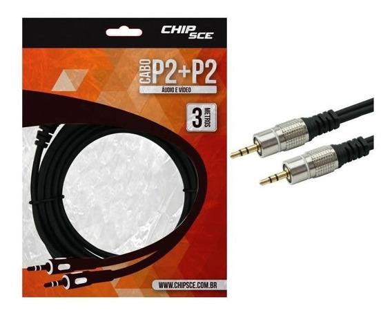Cabo P2 Estéreo X P2 Estéreo 3m Nickel Fitz Chipsce 018-0723