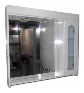Botiquín Espejo Baño Peinador Vidrio Laqueado Blanco 80x70