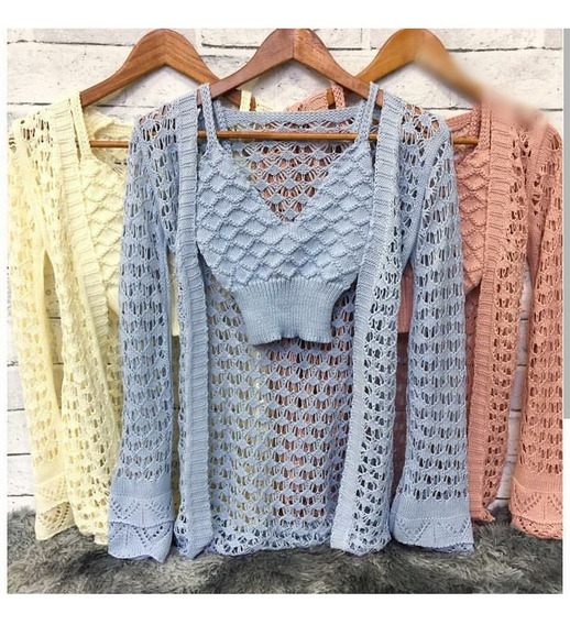 Colete Kimono Tricô + Cropped Tricot Lã Meia Estação Franja