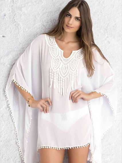 Boho Crochet Lace Cover Up Pompom Casual Elegante Ropa De Pl
