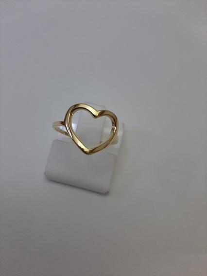Anel De Coração Em Banho De Ouro 18 K