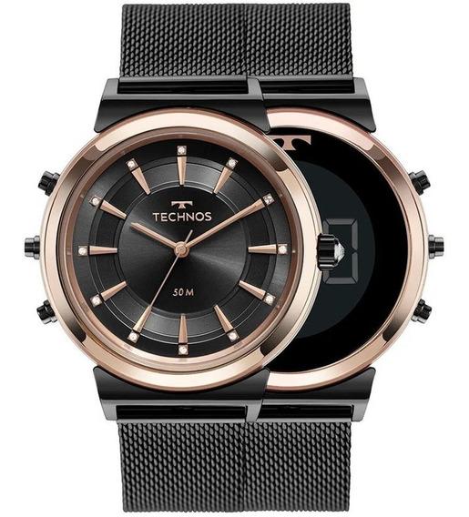 Relógio Technos Feminino Curvas Mod 9t33ab/4p Preto 2 Em 1
