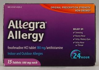 Allegra 24hr Tab 180mg 15 Tamaño 15ct Allegra 24hr Tabletas