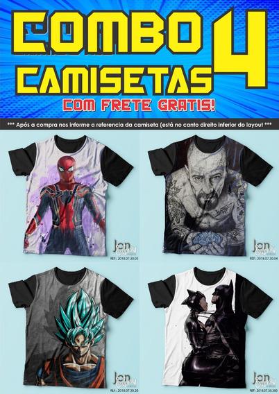 Combo Kit 4 Camisas Camiseta Escolha As Suas Estampas
