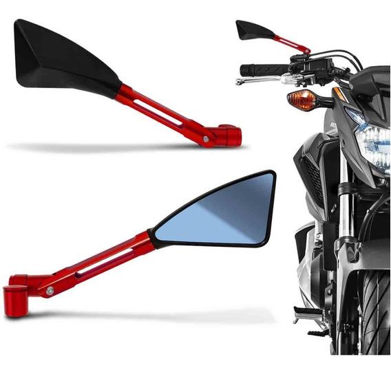Retrovisor Esportivo Tipo Rizoma Vermelho 100% Alumínio