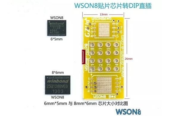 2 Adaptador Wson8 Dfn8 Mlf8 Qfn8 Sop8 Para Dip8 Tl866 Rt809h