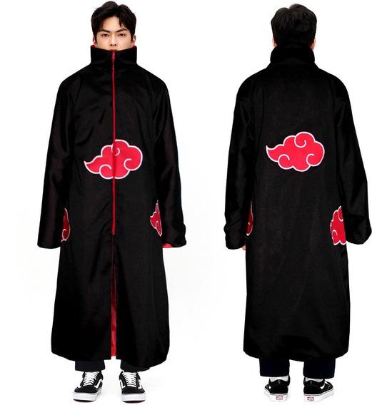 Capa Manto Akatsuki Naruto Cosplay Fantasia Itachi Bordado