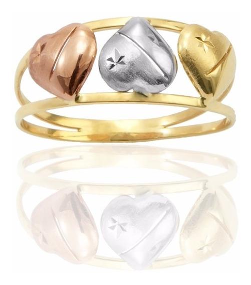 Anel De Ouro 18k Amarelo, Branco, E Rose (an-003)