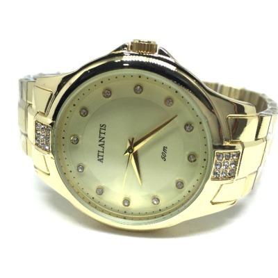 Relógio Atlantis Dourado Com Detalhes Em Strass - G3412