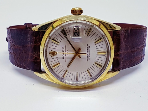 Rolex Date 34mm 14kt Gold Shell Champagne Ref15505