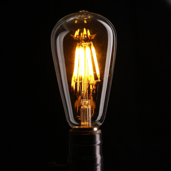4 Lâmpadas St64 Vintage Edison Filamento Led 8w Gold Glass