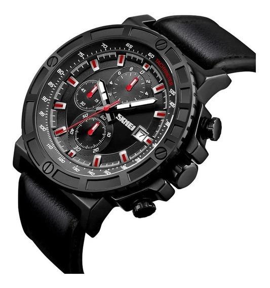 Relógio Masculino Esportivo Couro Cronógrafos Funcionais