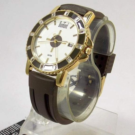 Sv48013s Relógio Dumont Feminino Pulseira Silicone Marrom