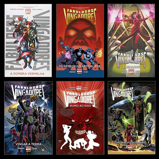 Kit 6 Hqs Marvel Capa Dura - Fabulosos Vingadores