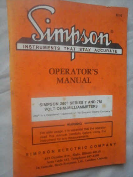 Manual Simpson Eletric 260 Series 7 E 7m