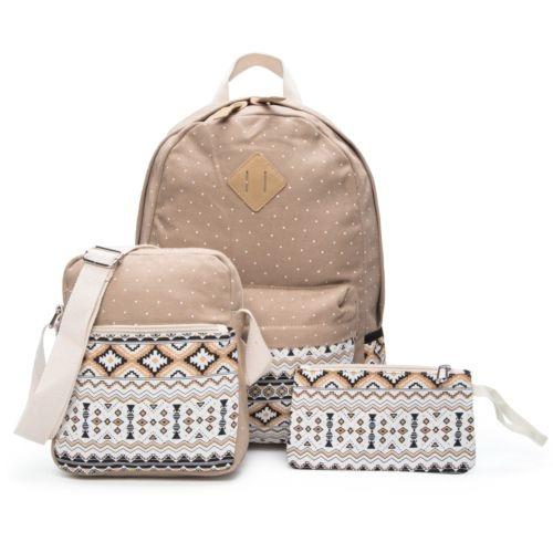 diseño de moda atesorar como una mercancía rara varios estilos 3pc Niña Niño Mochila Colegio Mochila Bandolera... (khaki)