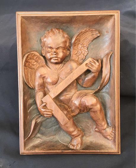Quadro Escultura Anjinho Carpinteiro Antigo Em Madeira