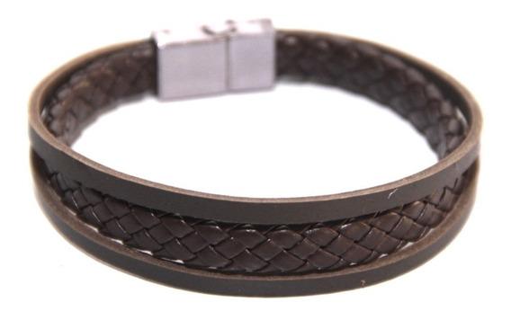 Pulseira Bracelet Preta Ou Marrom Couro Fecho Magnético