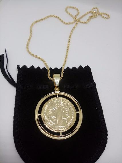 Corrente Cordão Com Medalhão De São Bento Banhada A Ouro 18k