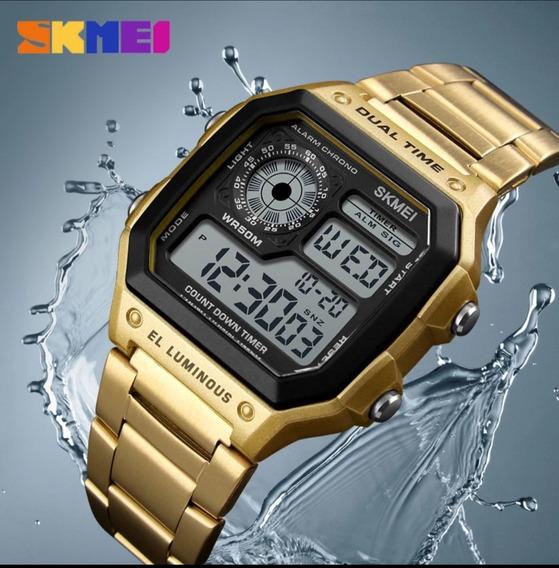 Relógio Digital E Analógico Pulseira De Aço