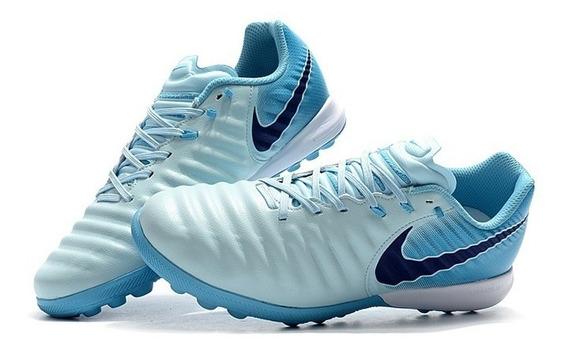 Chuteira Society Nike Tiempo Lunar Legend 7 Pro Blue Claro: