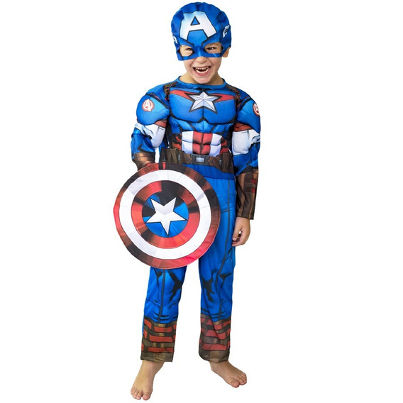 Disfraz De Capitan America Con Musculos De Marvel New Toys