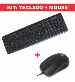Teclado Usb Para Pc Basico + Mouse Usb Promoção